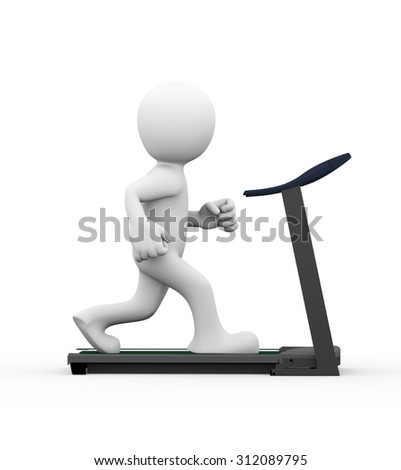 3d rendering of side view of man exercising and running on treadmill.
