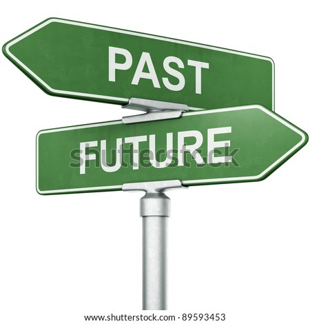 "3d rendering of signs with ""PAST"" and ""FUTURE"" pointing in opposite directions - stock photo"
