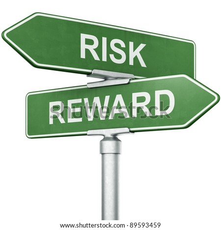 """3d rendering of signs with """"REWARD"""" and """"RISK"""" pointing in opposite directions - stock photo"""