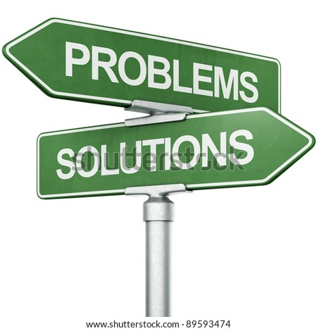"""3d rendering of signs with """"SOLUTIONS"""" and """"PROBLEMS"""" pointing in opposite directions - stock photo"""