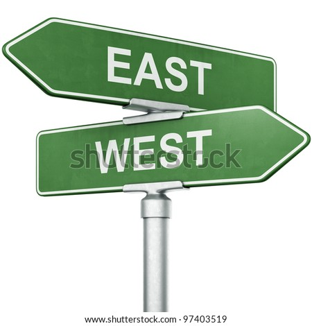 """3d rendering of signs with """"WEST"""" and """"EAST"""" pointing in opposite directions - stock photo"""