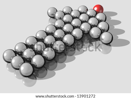 3d rendering of silver balls forming an arrow directing up