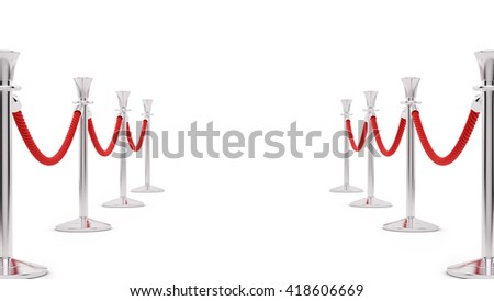 3D rendering of silver stanchions, isolated on white - stock photo