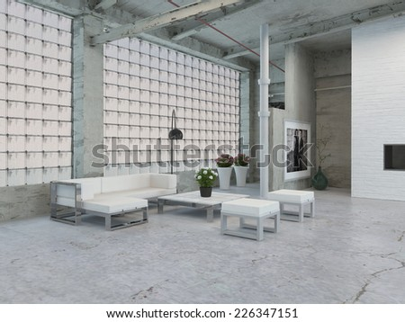 3D Rendering of Simple Architectural Interior Loft Area with White Table and Chairs and Stylish Wall Design. - stock photo