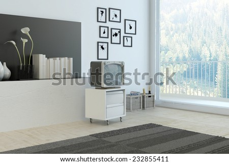 3D Rendering of Simple living room corner with grey and white decor with a wall recess with books , flowers and vases, a rug, cabinet and old style television set and artwork with a large window - stock photo