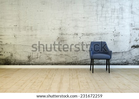 3D Rendering of Single armchair in front of a stained wall with cracked plaster and mildew from damp on a worn wooden parquet floor in a grunge architectural background with copyspace - stock photo
