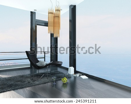 3D Rendering of Single modern recliner chair in the corner of a living room in a luxury seafront property interior with ocean view and floor-to-ceiling panoramic surround windows