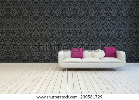 3D Rendering of Single White Couch with White and Red Violet Pillows on an Empty Architectural Room with Artistic Black Floral Pattern Wall Design and Wooden Floor. - stock photo
