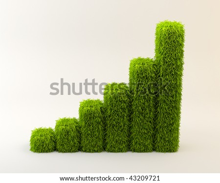 3d rendering of six bars of grass on a white background that shows an ascending tendency