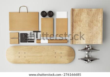 3D rendering of skateboard branding - stock photo
