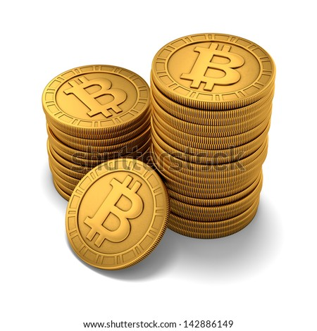3D rendering of small group of paneled golden Bitcoins on white background - stock photo