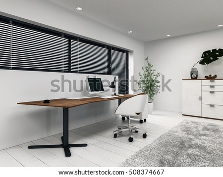 3d rendering of small home office with desk computer and window blinds includes houseplant