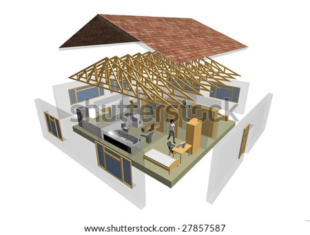 3D rendering of small house with furniture