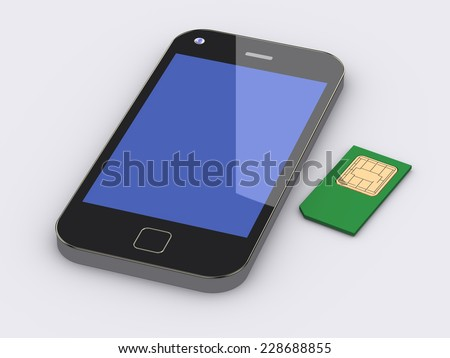 3d rendering of smart phone cell mobile device and sim card - stock photo