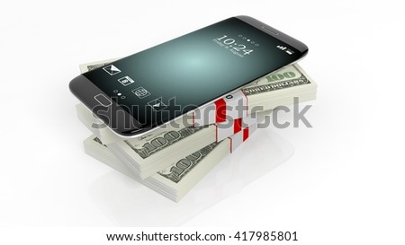 3D rendering of smartphone on 100 Dollar banknotes bundles stack,on white - stock photo