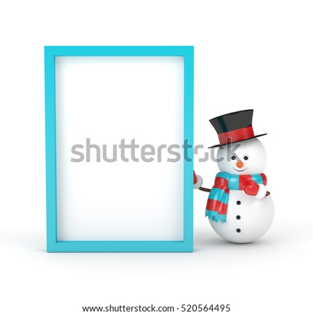 3d rendering of snowman holding a blank board  isolated over white background