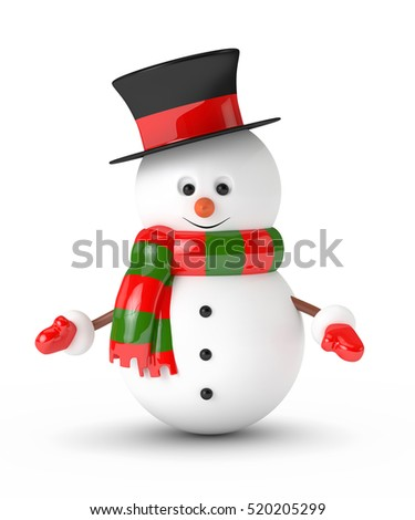3d rendering of snowman isolated over white background