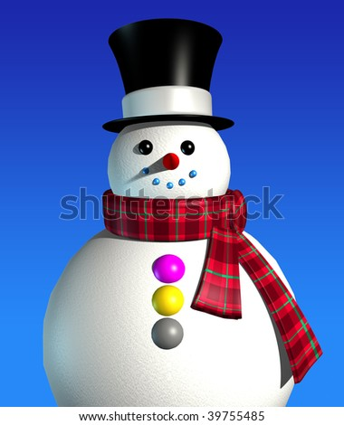 3d rendering of snowman on the blue background