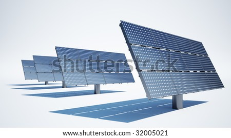 3d rendering of solar panels on a clean white background - stock photo