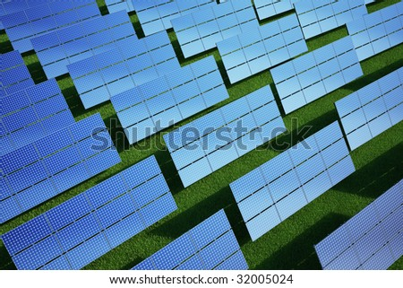 3d rendering of solar panels on a grass field - stock photo