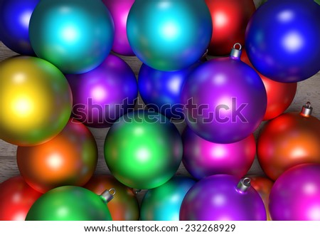 3d rendering of some christmas balls very colored