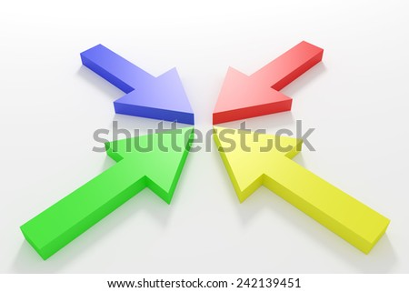 3d rendering of some colored arrows - stock photo