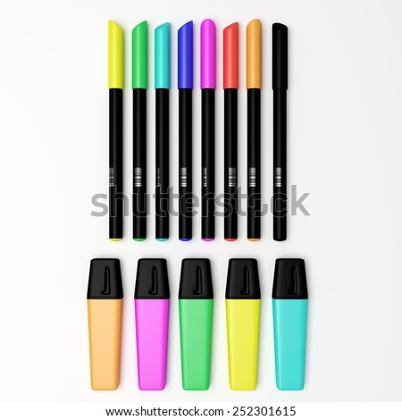 3d rendering of some colored marking pens - stock photo