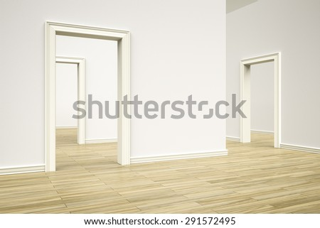3D rendering of some rooms with a wooden floor - stock photo