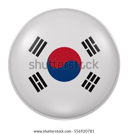 3d rendering of South Korea button with flag on white background