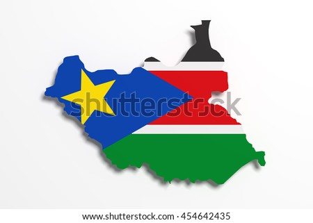 3d rendering of South Sudan map and flag.