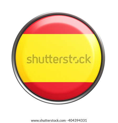 3d rendering of Spain button on white background. - stock photo