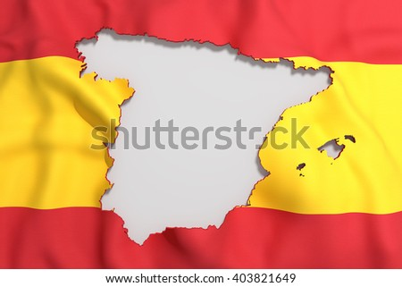 3d rendering of Spain map and flag on background. - stock photo