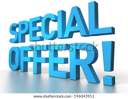 3d rendering of Special offer blue glossy text on white background with shadow and reflection - stock photo