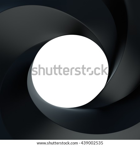 3D Rendering of Spiral frame and hole black color front view with copy space for text, isolated on white background.  - stock photo