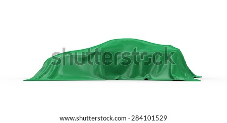 3d rendering of sport car vehicle covered with green fabric cloth - stock photo