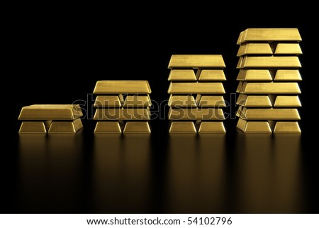 3d rendering of stacked gold bars