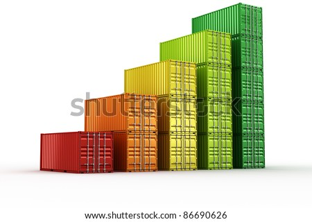 3d rendering of stacked shipping containers forming a chart - stock photo