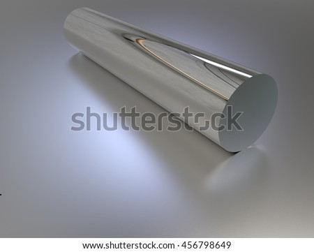 3d rendering of steel metal pipe on gray background with reflection