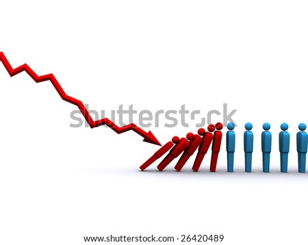 3d rendering of stock market plunge affecting jobs - stock photo