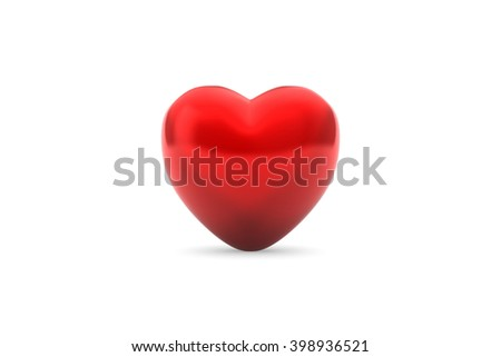 3D rendering of strikingly red heart-shaped ornament or piece of candy against a pure-white background with realistic drop shadow. The heart is crafted from a reflective material. - stock photo