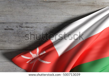 3d rendering of Sultanate of Oman flag waving on wooden background