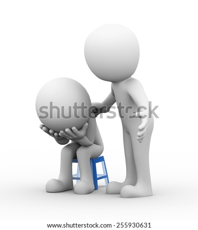 3d rendering of supporting man consoling and comforting sad frustrated depressed man sitting on  stool. 3d white people man character - stock photo