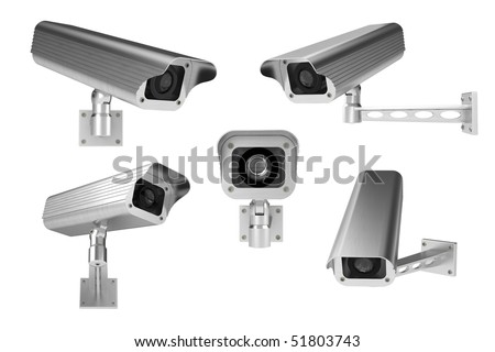 3d rendering of surveillance cameras on white background - stock photo