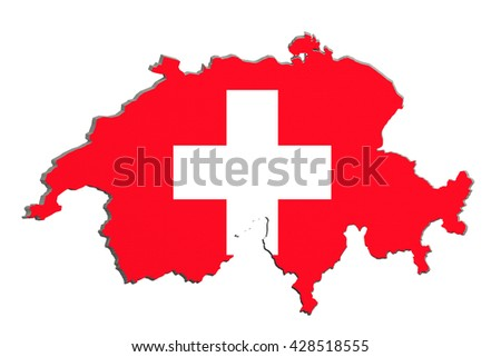 3d rendering of Switzerland map and flag on background.