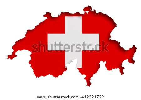 3d rendering of Switzerland map and flag on white background.