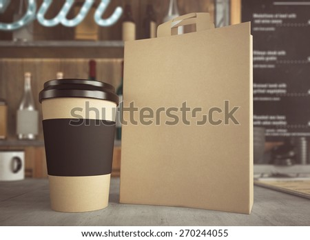 3D rendering of take away coffee cup and bag - stock photo