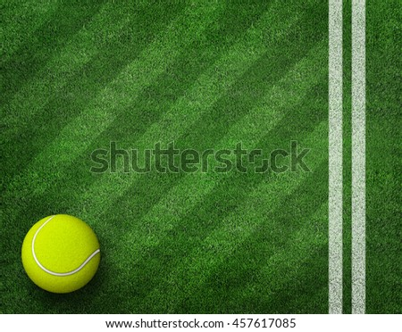 3d rendering of tennis ball on tennis grass court.