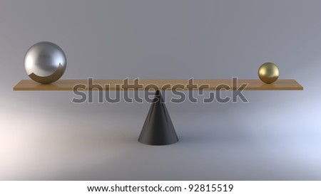 3d rendering of tgwo spheres on a wooden balance - stock photo