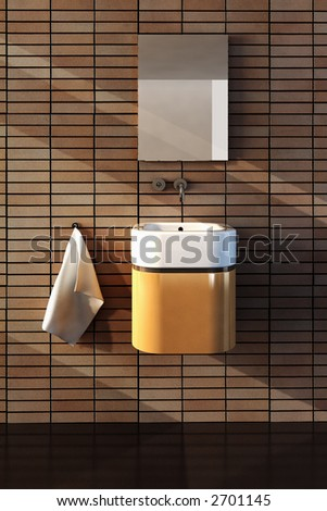 3d rendering of the bathroom interior in minimalism style - stock photo