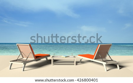 3D rendering of the beach lounge - sundeck on sea view for vacation and summer.